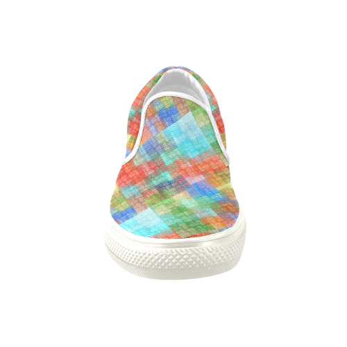 Funny Colorful Check Men's Unusual Slip-on Canvas Shoes (Model 019)