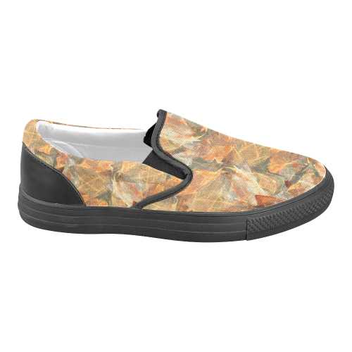 Mad Autumn Leafs Colors Men's Unusual Slip-on Canvas Shoes (Model 019)