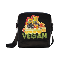 VEGAN FIT and have FUN Fruits Vegetables Crossbody Nylon Bags (Model 1633)