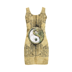Ying and yang with decorative floral elements Medea Vest Dress (Model D06)
