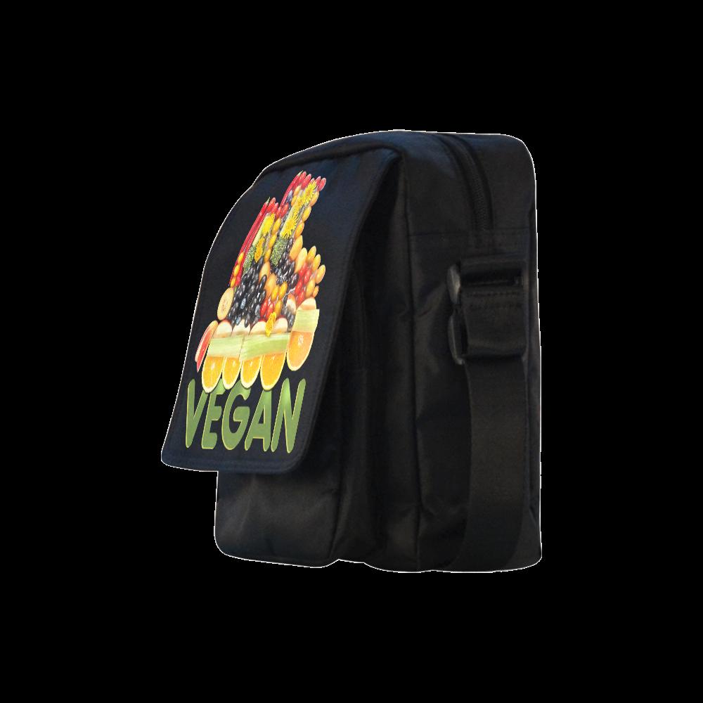 VEGAN FIT and have FUN Fruits Vegetables Crossbody Nylon Bags (Model 1633)