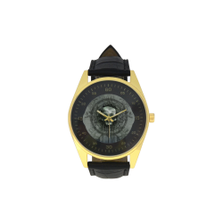 Awesome skull with bones and grunge Men's Golden Leather Strap Watch(Model 210)