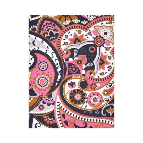 """Crazy Paisley Vintage Pink and Navy Cotton Linen Wall Tapestry 60""""x 80"""""""