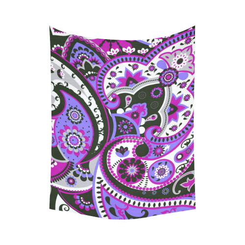 """Crazy Paisley Purple Cotton Linen Wall Tapestry 60""""x 80"""""""