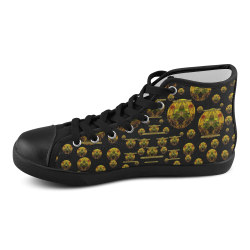 Exploring Keep Calm In gold with flair Men's High Top Canvas Shoes (Model 002)