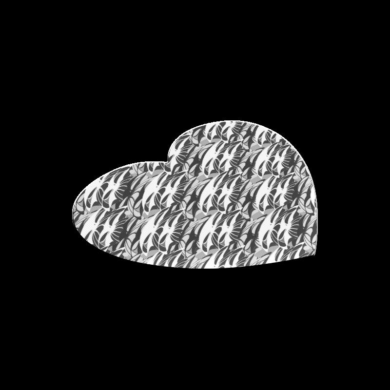 Alien Troops - Black & White Heart-shaped Mousepad