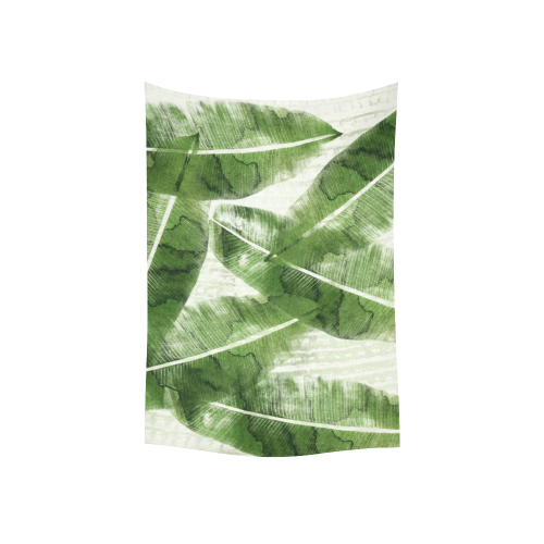 "Tropical Bananas Leaves Cotton Linen Wall Tapestry 40""x 60"""
