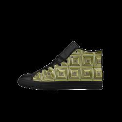 Square Tiles Aquila High Top Microfiber Leather Men's Shoes (Model 027)