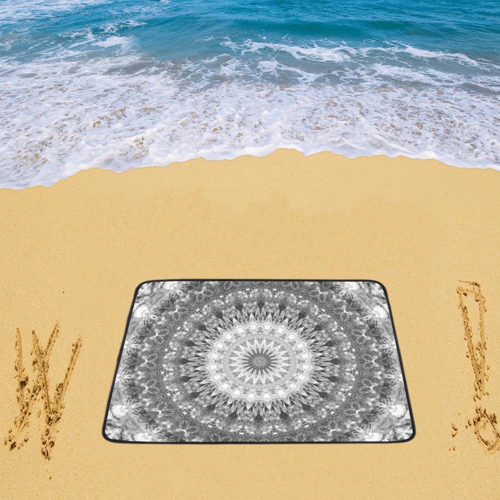 "Black and White Harmony Mandala Beach Mat 78""x 60"""