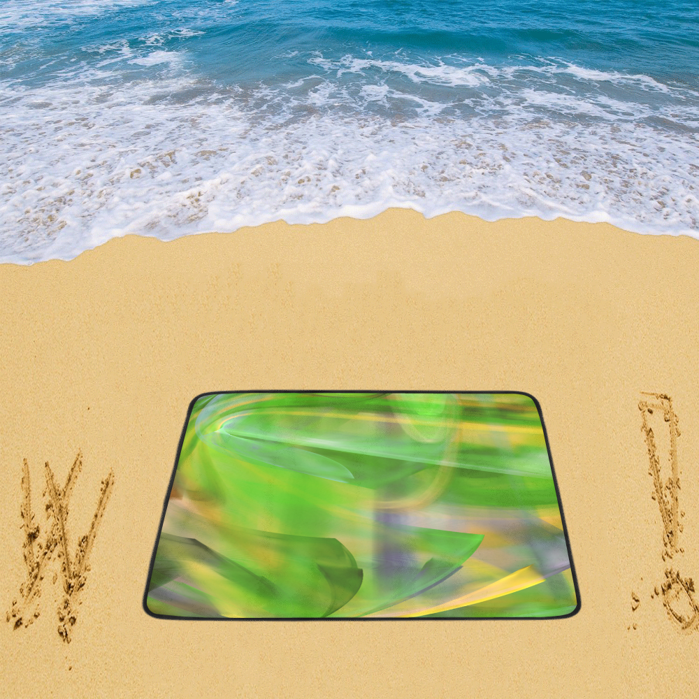 "Springtime Spiral Green Orange Beach Mat 78""x 60"""