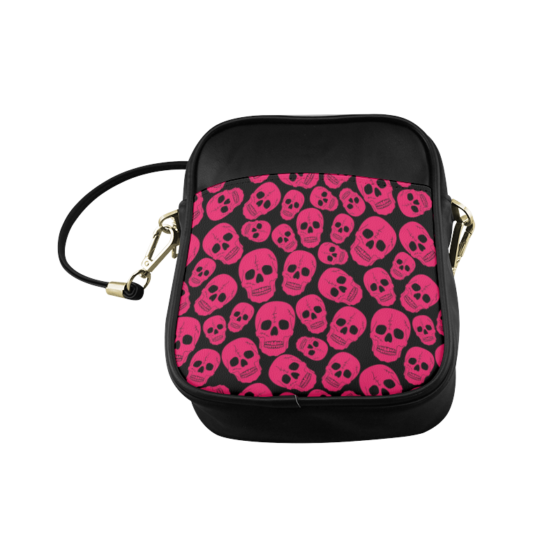 Bright Pink Skulls Sling Bag (Model 1627)