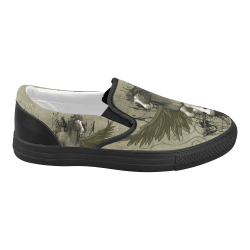Wild horse with wings Women's Slip-on Canvas Shoes (Model 019)