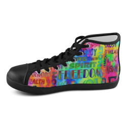 Flower Power - WORDS OF THE SPIRIT WAY Men's High Top Canvas Shoes (Model 002)