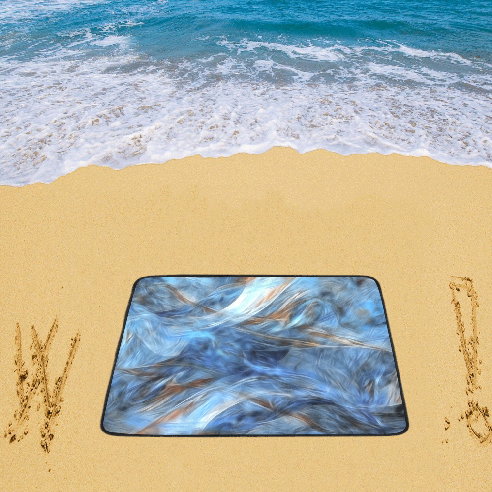 "Blue Colorful Abstract Design Beach Mat 78""x 60"""