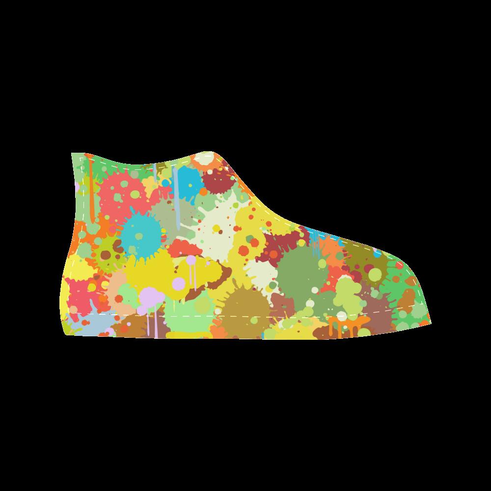 Funny Light Colorful Splash Design Aquila High Top Microfiber Leather Women's Shoes (Model 027)