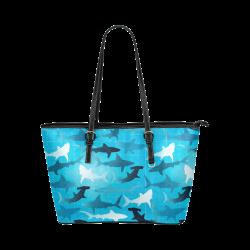 sharks! Leather Tote Bag/Large (Model 1651)