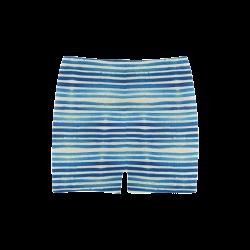 Watercolor STRIPES grunge pattern - blue Briseis Skinny Shorts (Model L04)