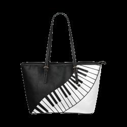 Black and White Music Keyboard by ArtformDesigns Leather Tote Bag/Large (Model 1651)