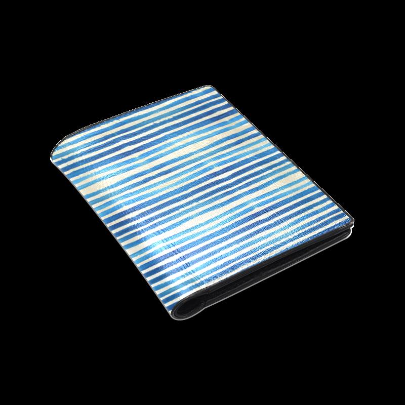 Watercolor STRIPES grunge pattern - blue Men's Leather Wallet (Model 1612)