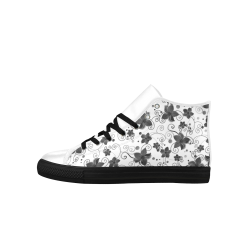 A elegant black white Flower dream Aquila High Top Microfiber Leather Men's Shoes (Model 027)