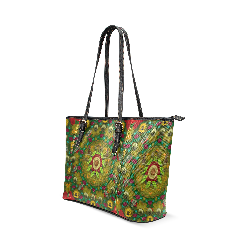 Panda Bears with motorcycles in the mandala forest Leather Tote Bag/Large (Model 1640)