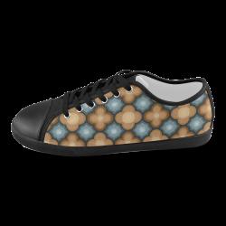 Brown, Blue Floral Pattern Women's Canvas Shoes (Model 016)