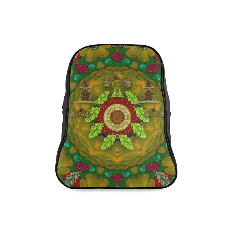 Panda Bears with motorcycles in the mandala forest School Backpack/Large (Model 1601)