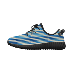 Watercolor STRIPES grunge pattern - blue Grus Men's Breathable Woven Running Shoes (Model 022)