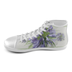 3 Purple Flowers High Top Canvas Kid's Shoes (Model 002)