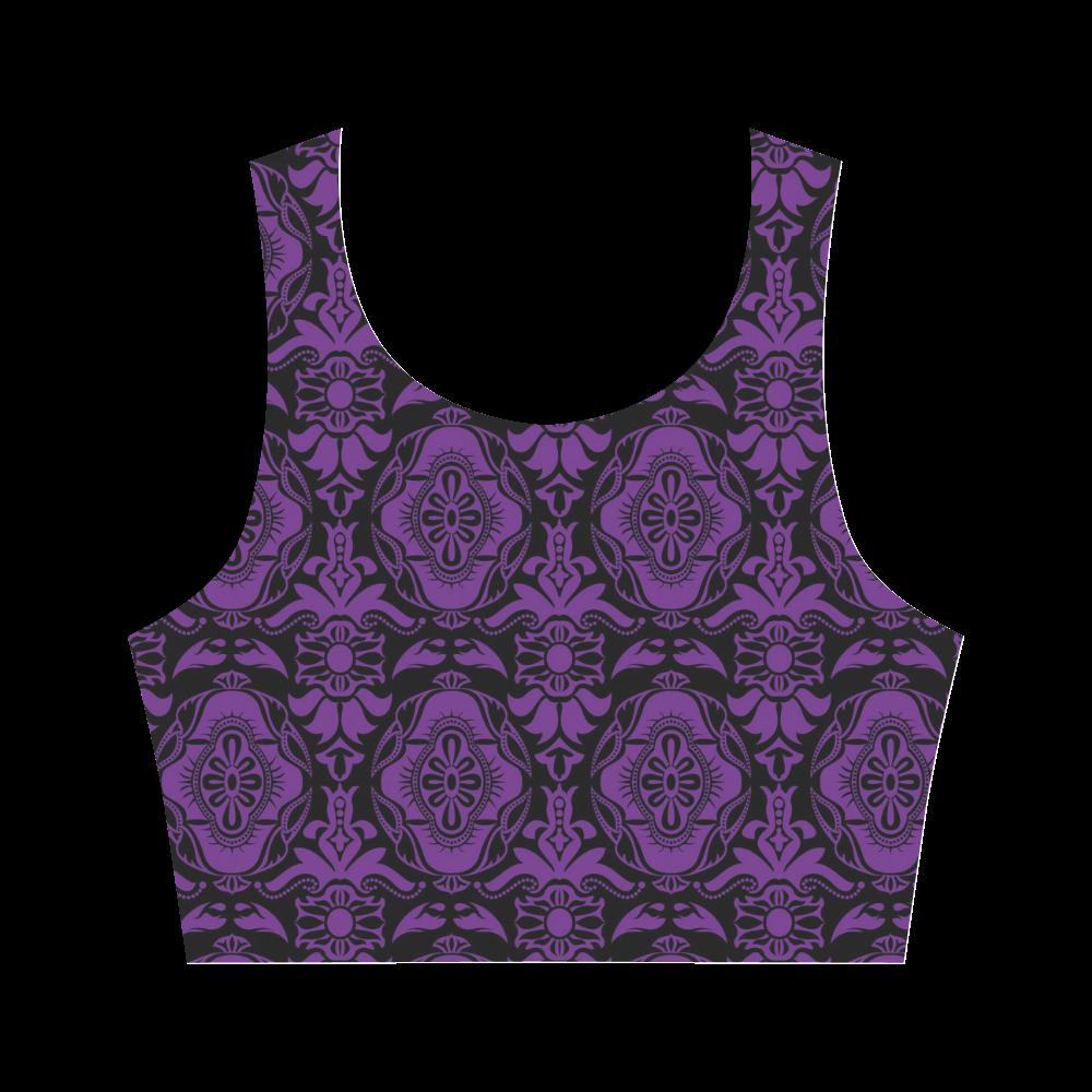 Halloween Goth Purple Damask Women's Crop Top (Model T42)