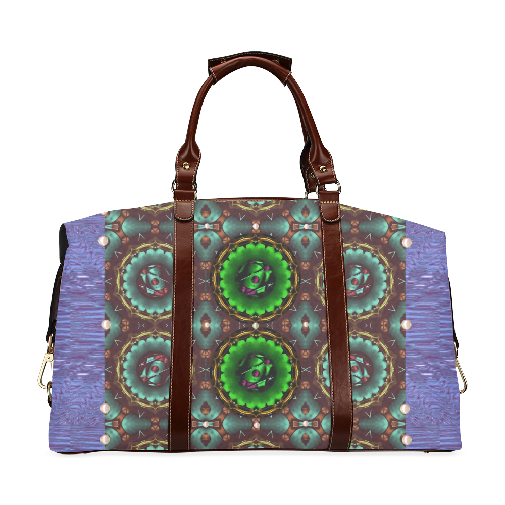 yin yang in art style and golden flowers Classic Travel Bag (Model 1643)