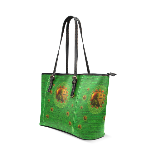 Angels watching over you in peace Leather Tote Bag/Large (Model 1640)
