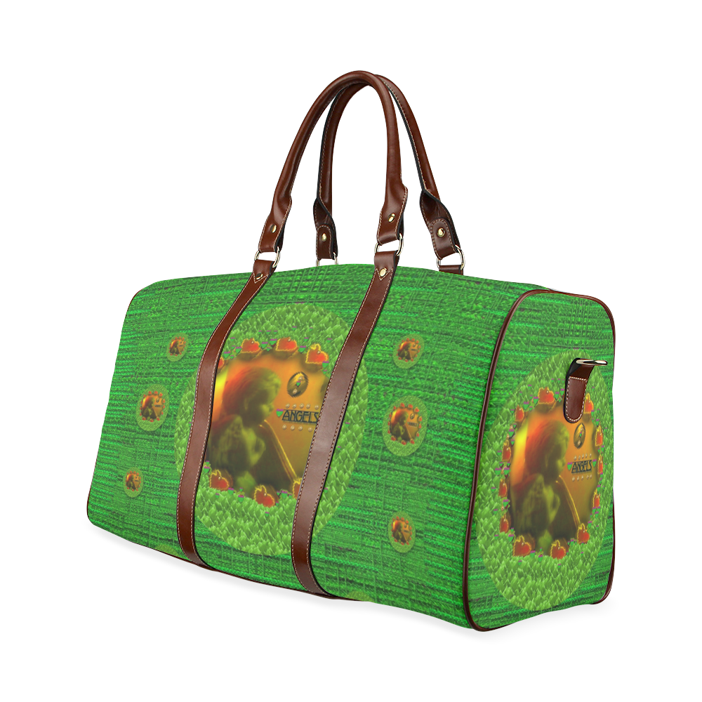 Angels watching over you in peace Waterproof Travel Bag/Small (Model 1639)