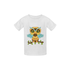 Little boy owl sitting on a branch with wings spread wide and blue wings and big green eyes Kid's  Classic T-shirt (Model T22)