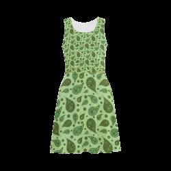 vintage paisley green Atalanta Sundress (Model D04)