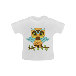 Little boy owl sitting on a branch with wings spread wide and blue wings and big green eyes Baby Classic T-Shirt (Model T30)