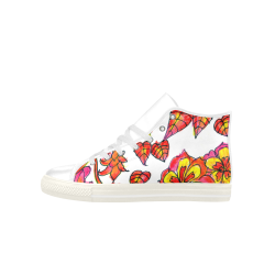 Autumn Leaves, Flowers, Red Orange Gold Zendoodle Aquila High Top Microfiber Leather Women's Shoes (Model 027)