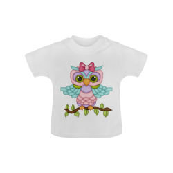 Little girl owl sitting on a branch with wings spread wide and blue wings with pink bow Baby Classic T-Shirt (Model T30)