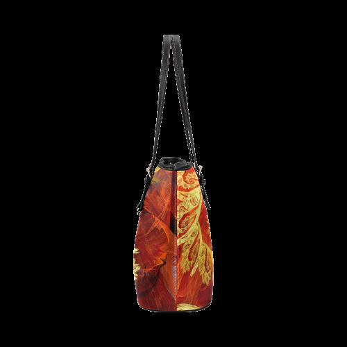 Elegant Gold Floral Swirl Fractal Leather Tote Bag/Large (Model 1651)