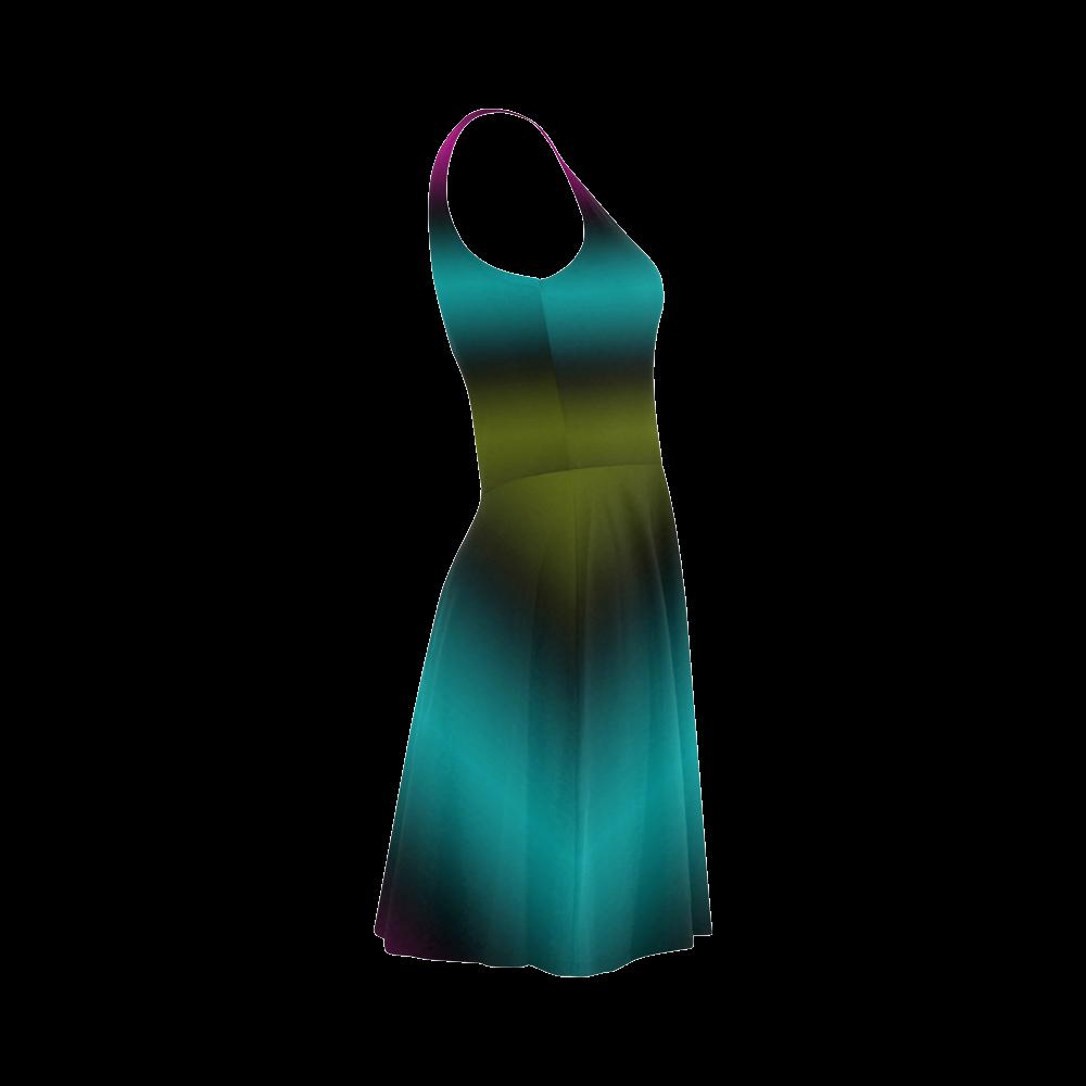 Dark Green Mint Blue Lilac Soft Stripes Atalanta Sundress (Model D04)