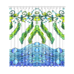 """Abstract Blue Green Flowers Vines River Zendoodle Window Curtain 50""""x108""""(Two Piece)"""