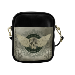 Skull with wings and roses on vintage background Sling Bag (Model 1627)