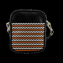 Black, White Orange Halloween Chervon Sling Bag (Model 1627)