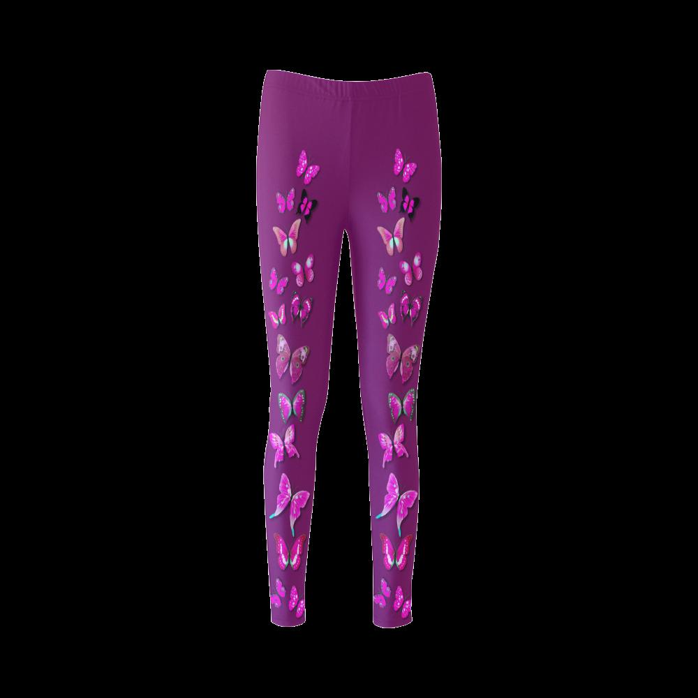 Pink Fantasy Butterflies Cassandra Women's Leggings (Model L01)