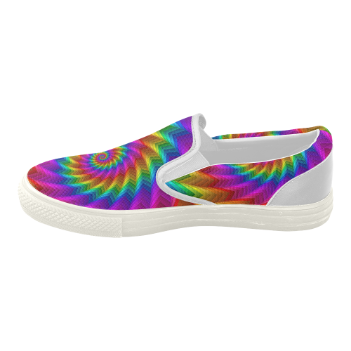 Psychedelic Rainbow Spiral Fractal Women's Slip-on Canvas Shoes (Model 019)