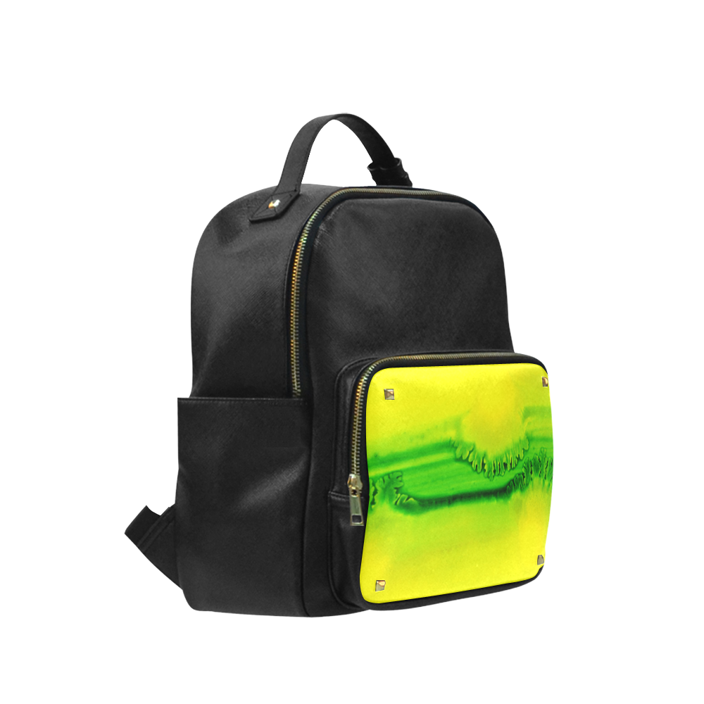 Yellow Colorbubbles Green Colorfern Campus backpack/Large (Model 1650)