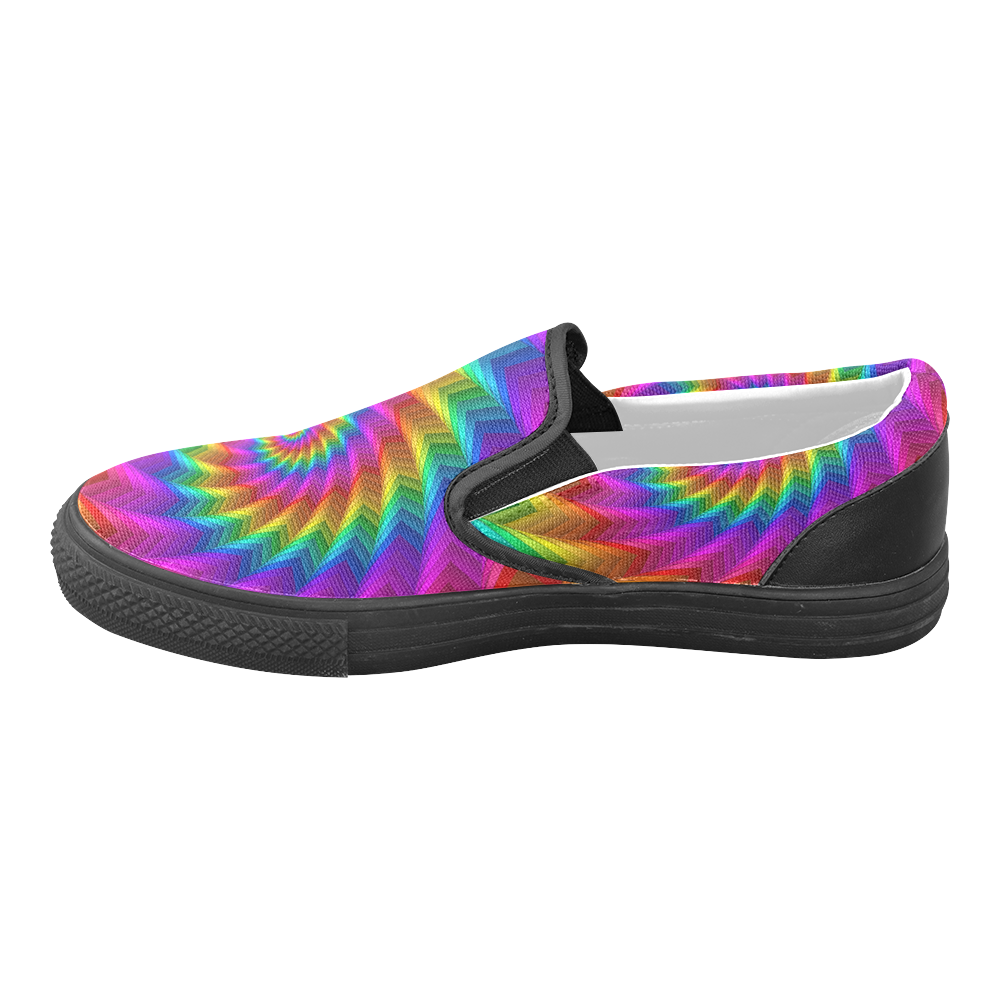 Psychedelic Rainbow Spiral Fractal Women's Unusual Slip-on Canvas Shoes (Model 019)