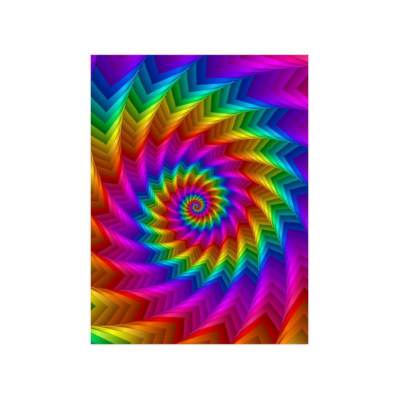 """Psychedelic Rainbow Spiral Fractal Poster 18""""x24"""""""