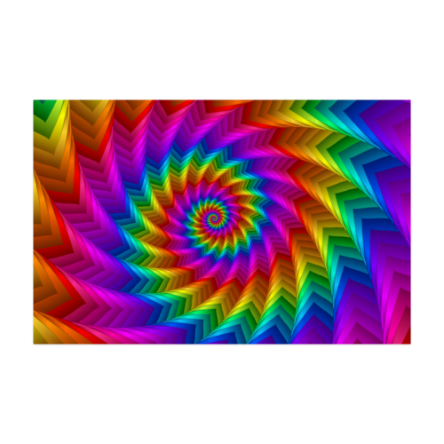 """Psychedelic Rainbow Spiral Fractal Poster 22""""x34"""""""