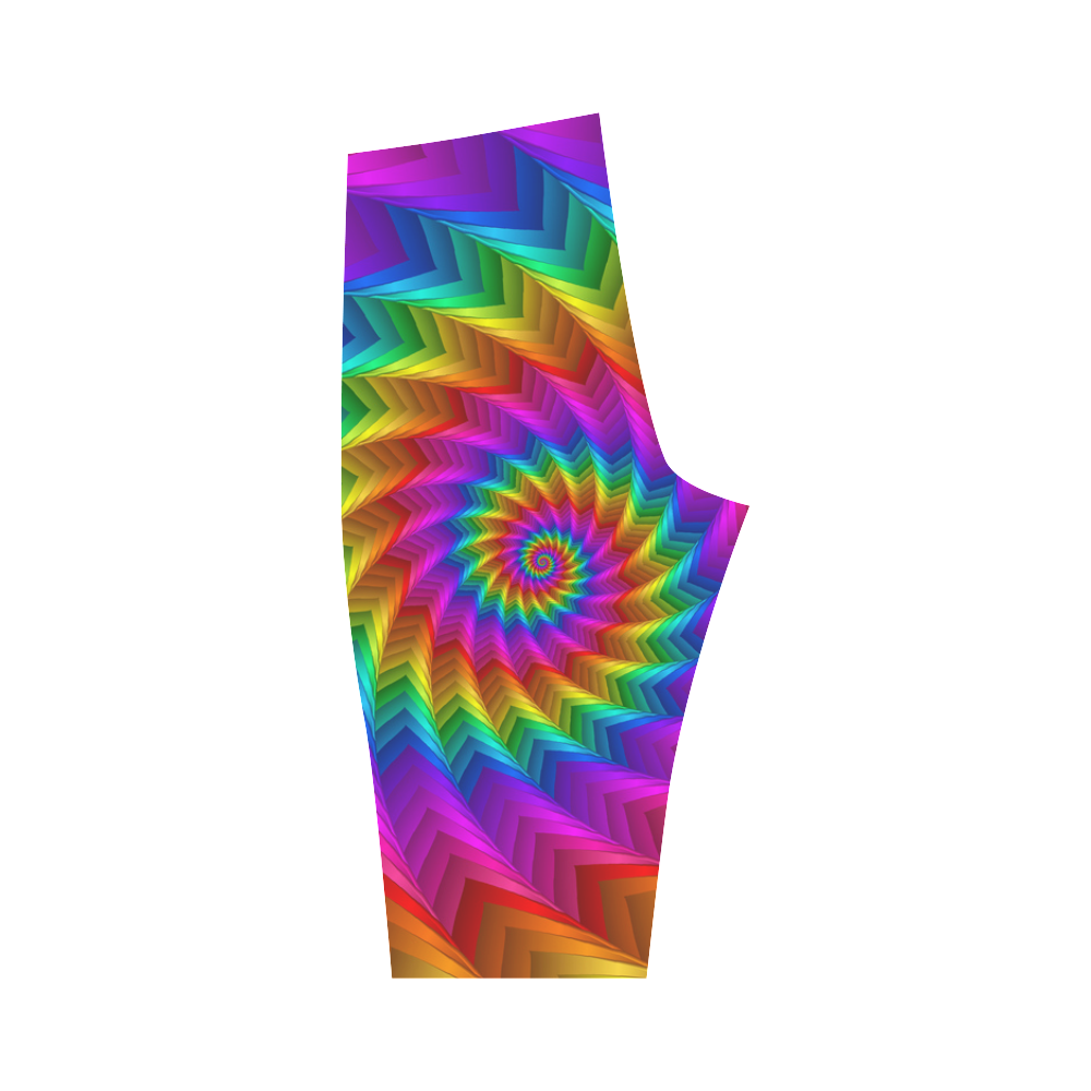 Psychedelic Rainbow Spiral Fractal Hestia Cropped Leggings (Model L03)
